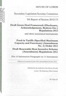 5TH REPORT OF SESSION 2012-13